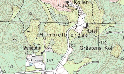 Udsnit af kort for området omkring Himmelbjerget i målestok 1:25.000.