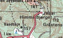 Udsnit af kort for området omkring Himmelbjerget i målestok 1:50.000.